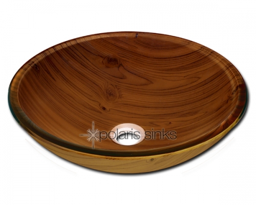 Quartz Vessel Sink : Home Glass Sinks Polaris p826 Wood Grain Glass Vessel Bathroom Sink